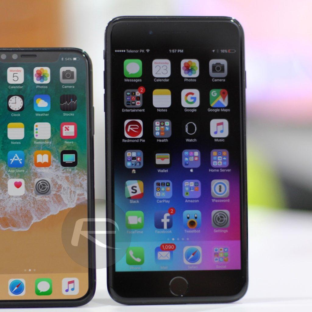 Schwarzes IPhone X Vs IPhone 7 Plus
